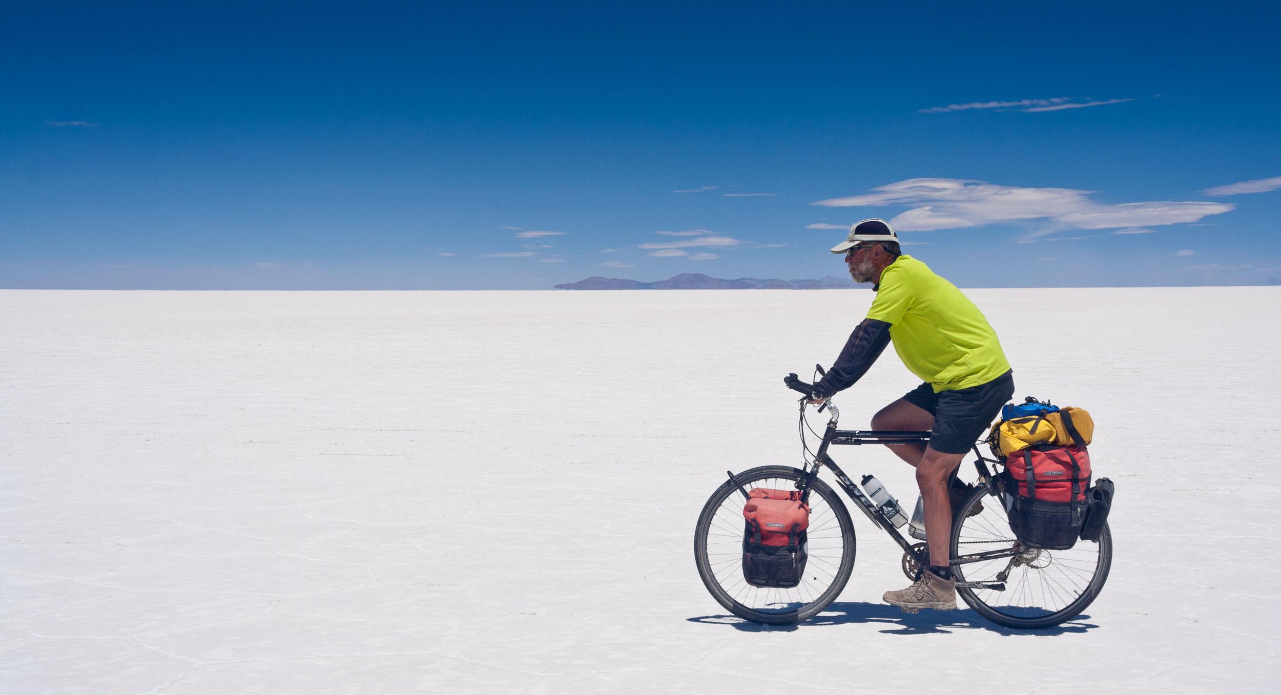 Op de Salar de Uyuni in Bolivia